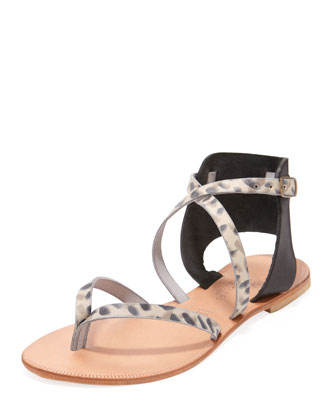 Casis Leopard-Print Leather Sandal