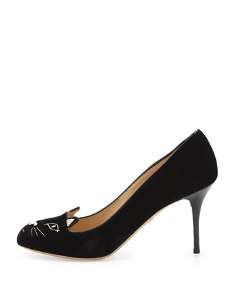 Kitty Cat-Embroidered Velvet Pump, Black