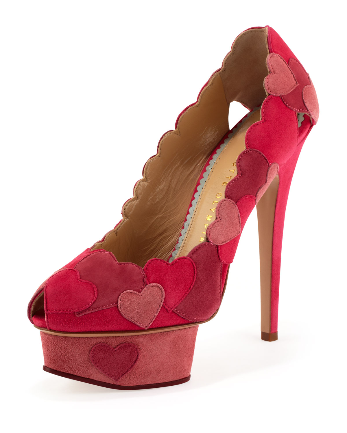 Love Me Heart-Applique Pump, Fuchsia (Pink), Size: 39.5B/9.5B - Charlotte Olympia