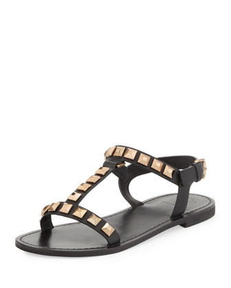 Kenna Studded Leather Sandal, Black