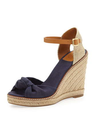 Macy Linen Espadrille Wedge, Bright Navy