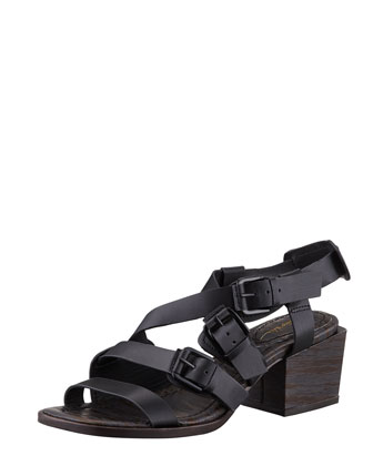 Bee Mid-Heel Sandal, Black