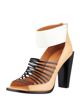 Dede Strappy Open-Toe Bootie, Bone