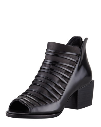 Dede Strappy Open-Toe Low-Heel Bootie, Black