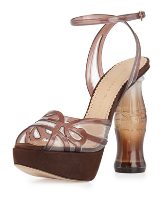 Soda Bottle-Heel Platform Sandal