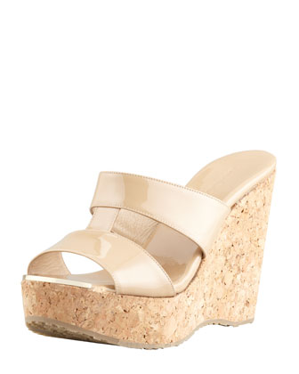 Porter Patent Leather Wedge Sandal, Nude
