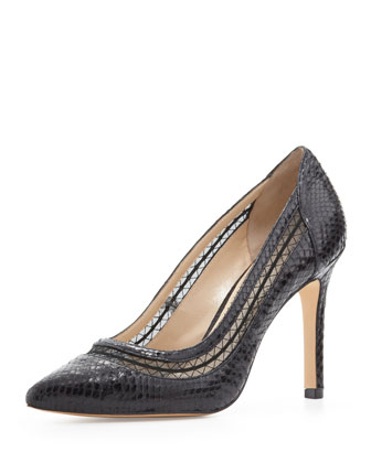 Cailyn Mesh-Collar Snake-Print Pump, Black
