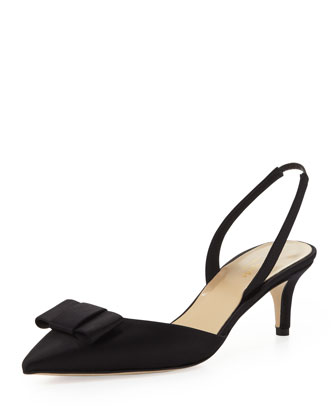 susi satin bow slingback pump, black