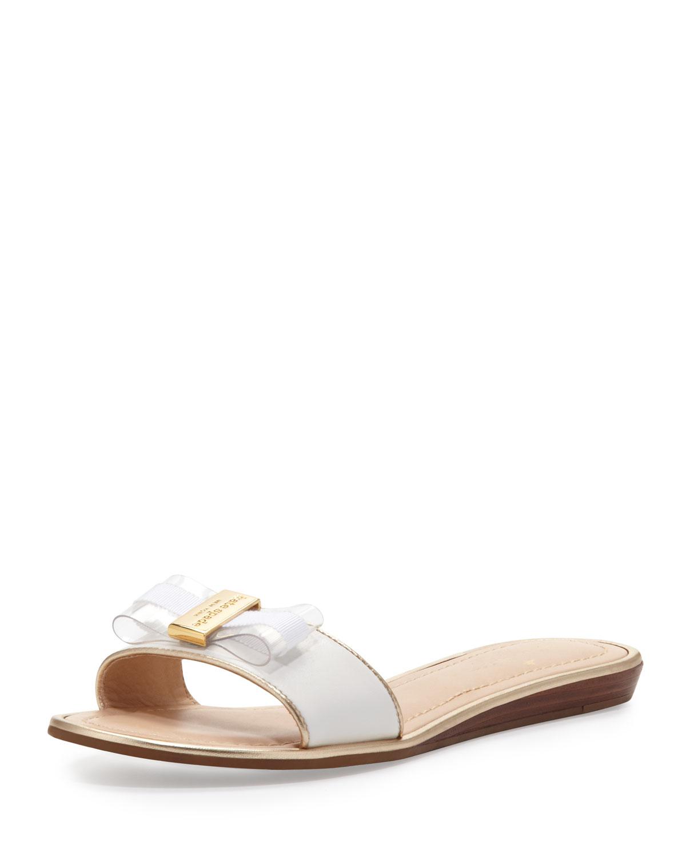 alicia bow slide sandal, white   kate spade new york   White (37.0B/7.0B)
