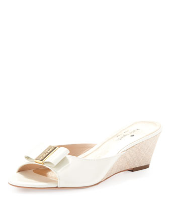 dixie wedge with bow detail, cream