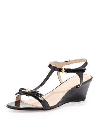 donna patent t-strap wedge sandal, black