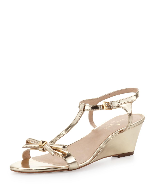 donna metallic t strap wedge sandal, mushroom   kate spade new york   Mushroom