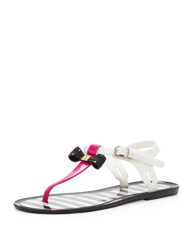 Womens fresh jelly t strap bow sandal, fuchsia   kate spade new york