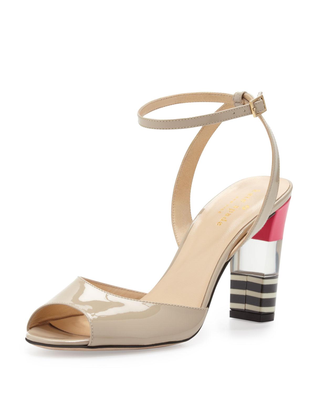 ibezia patent striped heel sandal   kate spade new york   Linen (38.5B/8.5B)