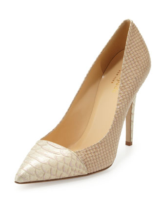 leann snake-print pointy-toe pump, natural