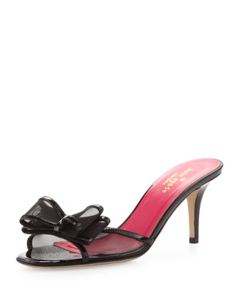 michaela patent mesh bow slide, black