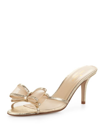 michaela metallic mesh bow slide, gold