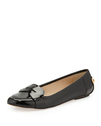 natalia patent penny loafer, black
