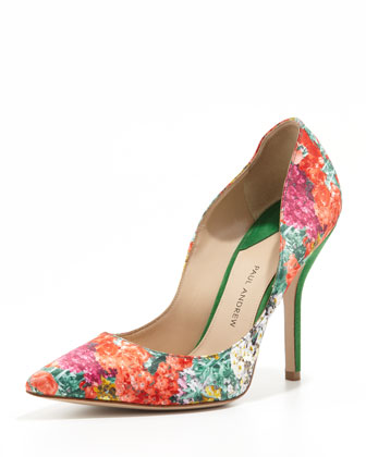 Silk Floral-Print Pointy Pump, Poppy/Peridot