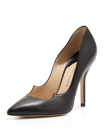 Zenadia Leather Peaked-Vamp Pump, Black
