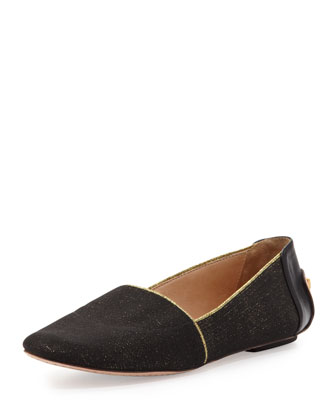 nella sparkle stretch loafer, black/gold
