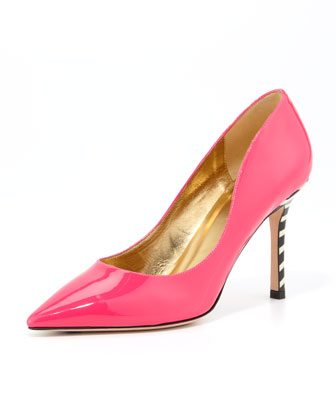 poise patent striped-heel pump