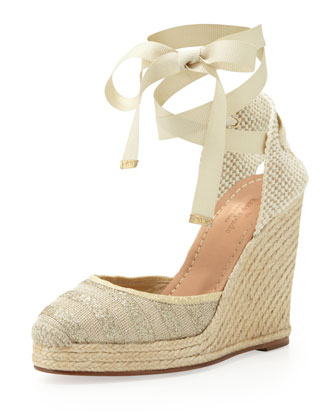 santorini metallic striped espadrille wedge, natural/gold