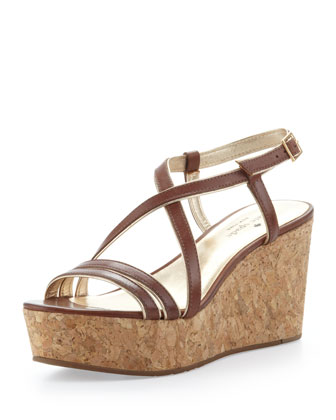 tender crisscross cork platform wedge
