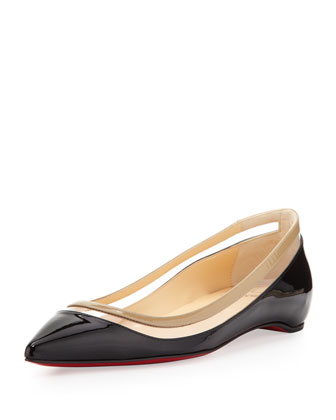 Paulina Pointed-Toe Ballet Flat, Black/Beige
