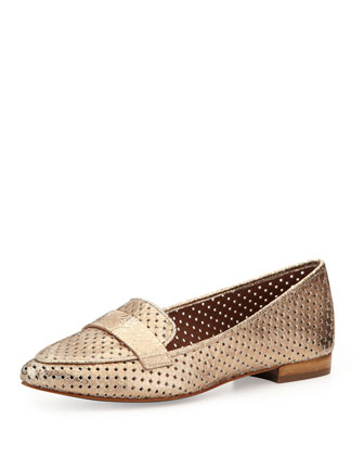 Perforated Metallic Leather Loafer, Gold