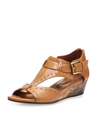 Dama Studded Leather Wedge Sandal, Camel