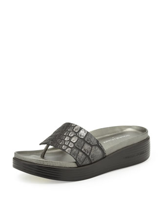 Fifi Croc-Embossed Thong Slide, Black