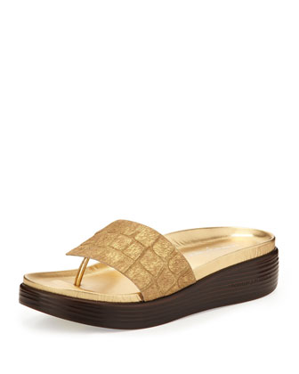 Fifi Croc-Embossed Calf Hair Thong Slide, Gold