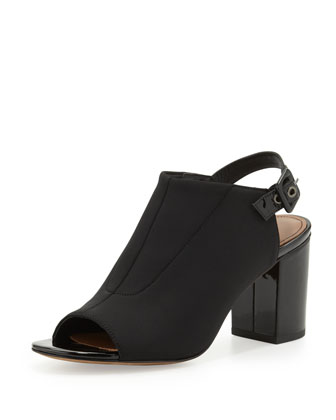 Gillie Stretch Peep-Toe Slide, Black