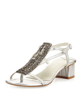 Macha Beaded Metallic Sandal, Silver