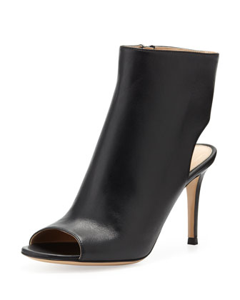 Peep-Toe Open-Heel Leather Bootie, Black