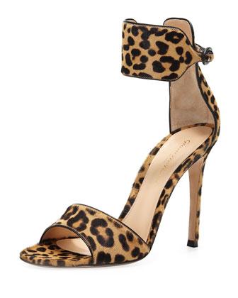 Leopard-Print Calf Hair Ankle-Wrap Sandal