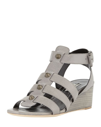 Studded Demi-Wedge Sandal, Gray