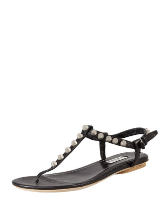 Nickel Studded Thong Sandal, Black