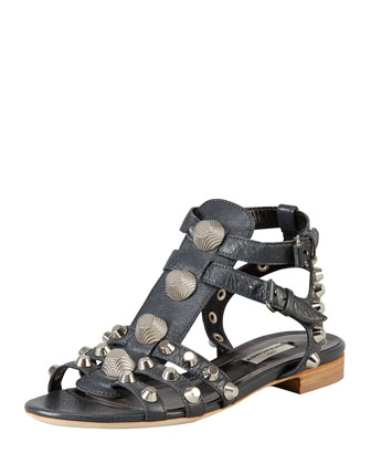 Nickel Studded Gladiator Sandal, Black