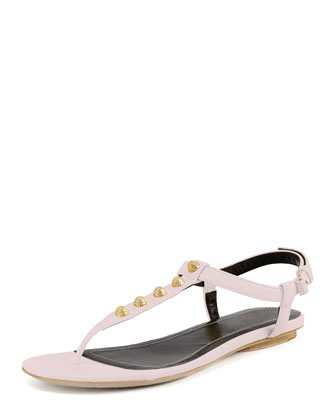 Golden Studded Thong Sandal, Rose