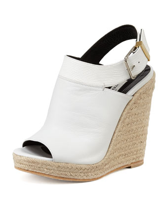 Slingback Glove Wedge Sandal, White