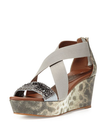 Farra Embellished Wedge Sandal, Natural