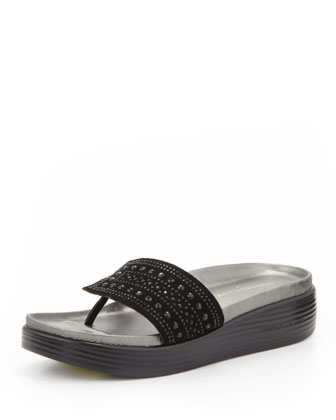 Fifi Studded Suede Thong Slide, Black