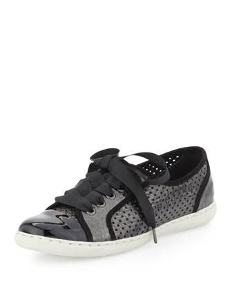 Maxi Patent Lace Up Sneaker, Black-Pewter