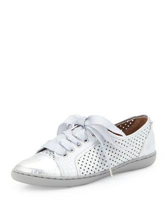 Maxi Metallic Lace Up Sneaker, Silver