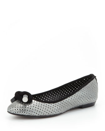 Gracie Metallic Leather Ballerina Flat, Pewter