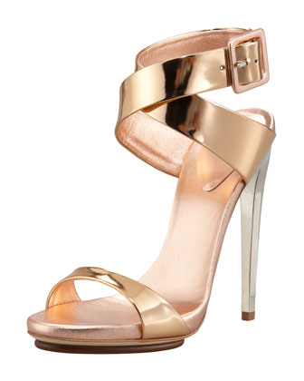 Big-Buckle Ankle-Wrap High-Heel Sandal, Copper
