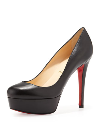 Bianca Kidskin Leather Platform Red Sole Pump, Black