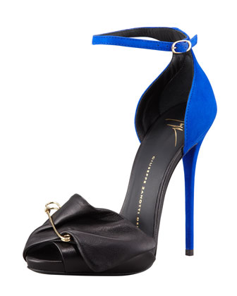Safety Pin Leather & Suede Sandal, Black/Blue